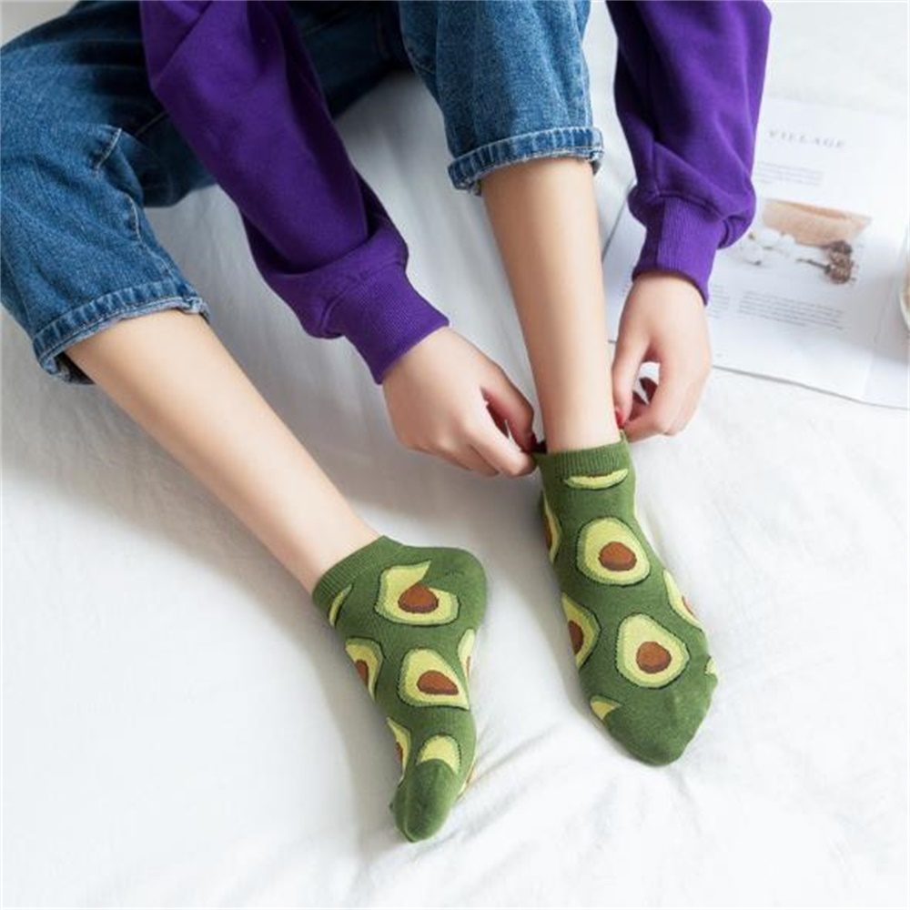 Unisex Fashion Socks Cotton Low Help Shallow Mouth Couple Boat Fruit Socks Avocado Green Print Harajuku Cute Funny Short Socks