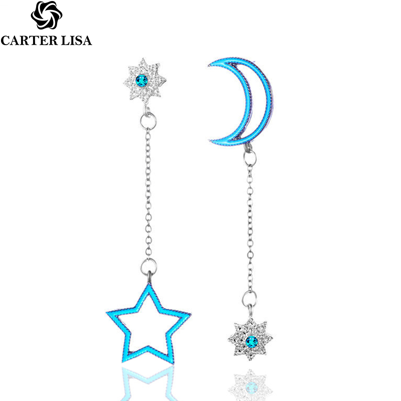 CARTER LISA Blue Stars Long Tassel Dangle Earrings For Women Leaf Feather Drop Brincos Bijoux Boucle D'oreille Jewelry Earring