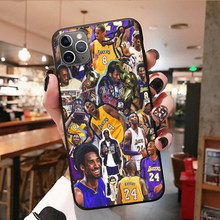 Personalizado macio caso do telefone para iphone 6s 7 8plus x 11 12 pro max xs xr capa de silicone preto escudo nba basquete lenda estrela moda
