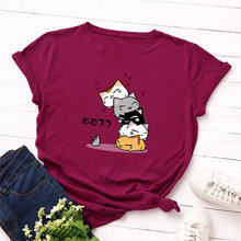 Plus Size 100% Cotton Women T-shirt O-Neck Cute Cat Cartoon Printed Casual Female Top Tees Good-quality Summer T shirt S-5XL