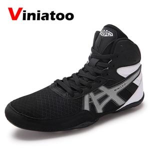 Zapatos de lucha para hombre, Zapatillas de malla transpirable para lucha, talla grande 36-46, de boxeo ligero