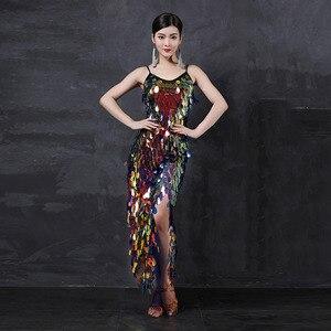 Image 2 - Vestido largo de gitana para mujer, traje de baile de salón con lentejuelas brillantes, falda personalizada, ropa Oriental