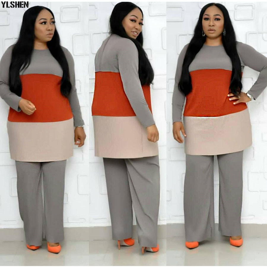 Super Size 2 Piece Set African Clothes New Fashion Pleated African Suit (Top And Trousers) Dashiki African Dresses For Women 02