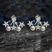 Fashion 925 Sterling Silver Flower Pearl Earring for Wome Wedding Jewelry Fine Jewelry With Gift Box cute 925 silver giraffe earring with gift box