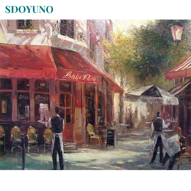 SDOYUNO 60x75cm Acrylic Paint By Numbers For Adults Landscape Oil Painting By Numbers On Canvas Frameless DIY Home Decor