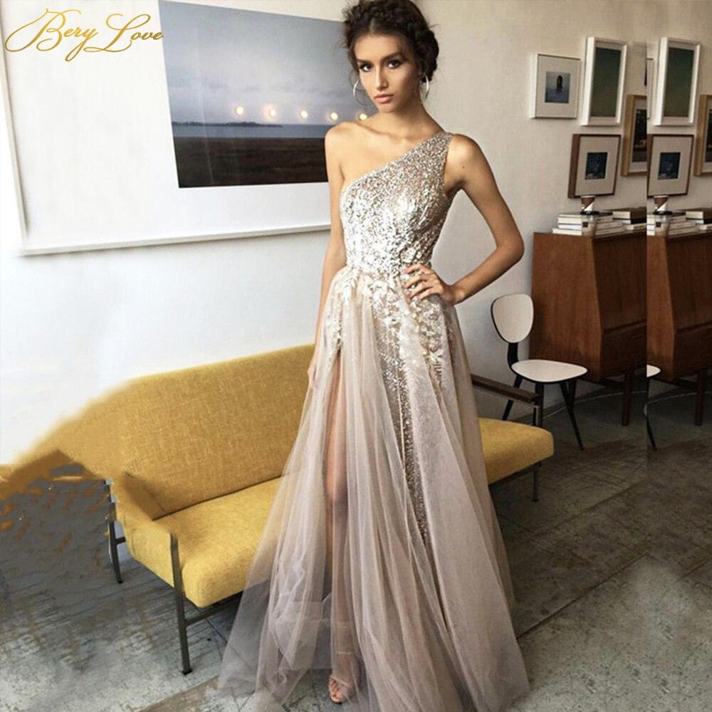 One Shoulder Sequin Evening Dress 2020 Long Prom Dress Shiny Sexy Vestidos De Fiesta Appliques Glitter Slight Robe De Soiree