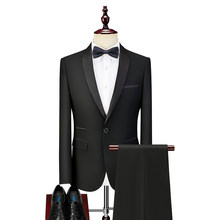 Black Formal Groom Tuxedo for Wedding Men 2 piece Man Suits with Shawl Lapel Business Prom Singer Fashion Clothes In Stock(China)