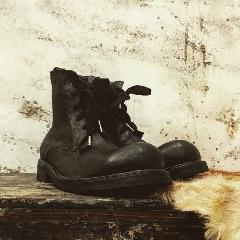 Handmade Vintage Lace Up Ankle Boots Men Winter High-Top Platform Sneakers Classic Genuine Leather Work Shoes Motorcycle Boots