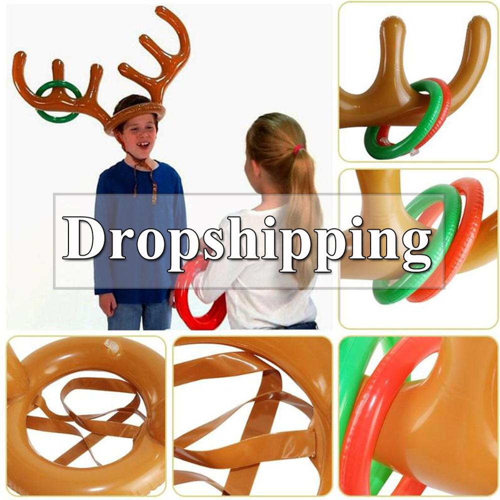 PVC Inflatable Antler Headband Toys Animal Head Ring Throwing Circle Toy Game Funny Reindeer Christmas Gifts Decor Accessories