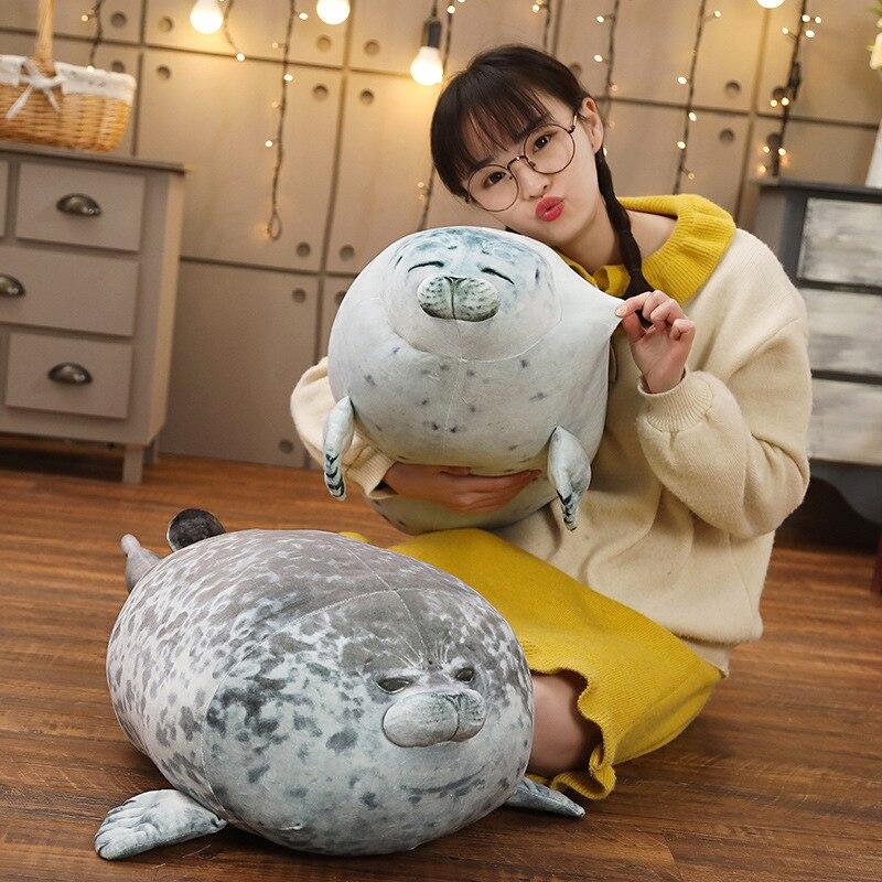 Super Cute Seal Animal Plush Doll Cartoon Baby Sleep Doll Baby Bed Toy Ballet Group Cartoon Winter Warm Hand Pillow