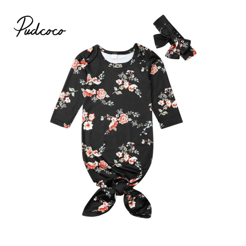 Newborn Baby Sleeping Bag Cute Black Flower Printed Swaddle Blanket Sleeping Swaddle Muslin Wrap+Headband 2pcs New Born Set