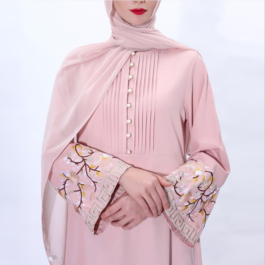 Plus Size Ramadan Flower Embroidery Abaya Hijab Muslim Dress Female Caftan Turkish Islamic Kaftan Robe Musulman Abaya Islam F992