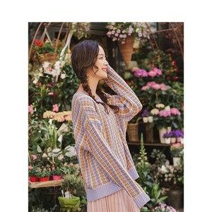 Image 3 - Inman primavera outono o pescoço manga gota ombro bonito colorido jovem menina jacquard xadrez feminino pulôver