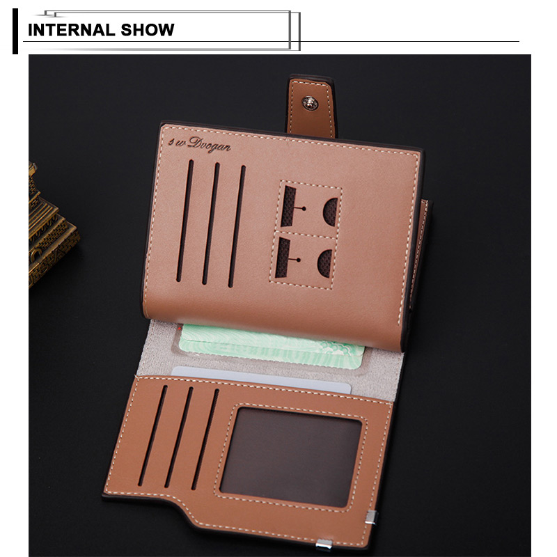 H9b55ed8384504a69b42a2c127a9d1a6ad - New Business men's wallet Short vertical Male Coin Purse casual multi-function card Holders bag zipper buckle triangle folding