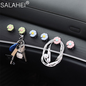 Image 3 - Car Hook Front Row Car Door Multi function Daisy Pattern Organizer Clip Invisible Small Hook Cartoon Cute Auto Goods Accessories