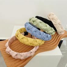 Плиссированный однотонный обруч для волос плетеная повязка на