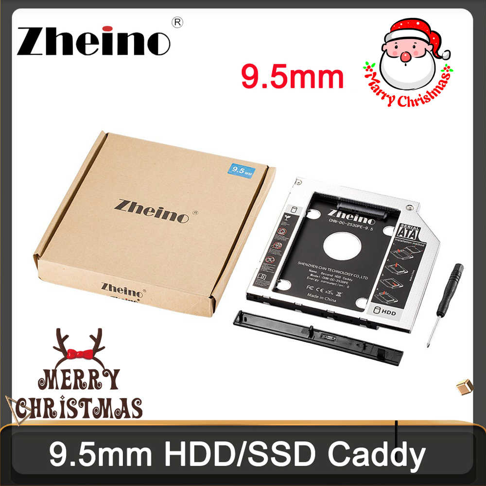 Zheino aluminium 9.5mm 2. HDD SSD Caddy 2.5 SATA do SATA rama Caddy obudowa HDD Adapter Bay do notebooka Laptop CD/DVD-ROM ODD