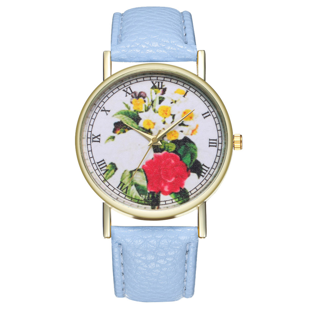 Casual Watches Leather Strap Flower Printed Round Dial Watches Fashion Quartz Watches Men Women Students Couple LL@17