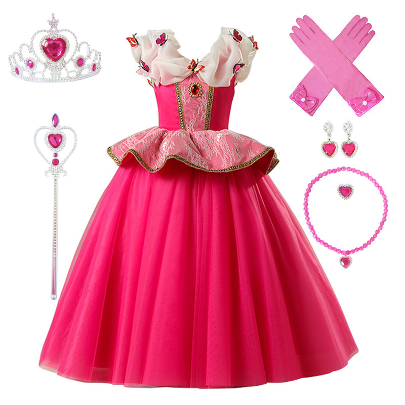 Image 3 - 3 10Y Girl Aurora Princess Costume Kids Sleeping Beauty Cosplay Dress Halloween Christmas Dress Children Birthday Party DressDresses   -