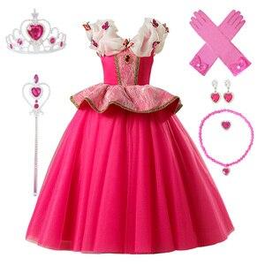 Image 3 - 3 10Ys dziewczyna Aurora kostium księżniczki dzieci śpiąca królewna sukienka Cosplay Halloween sukienka świąteczna dla dzieci sukienka na przyjęcie urodzinowe