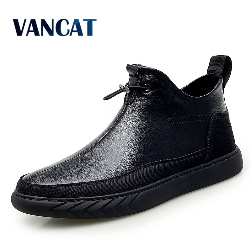 Vancat New Plush Keep Super Warm Men Boots Winter Boots Rubber Plush Snow Boots England Retro Ankle Boots For Men Winter Shoes