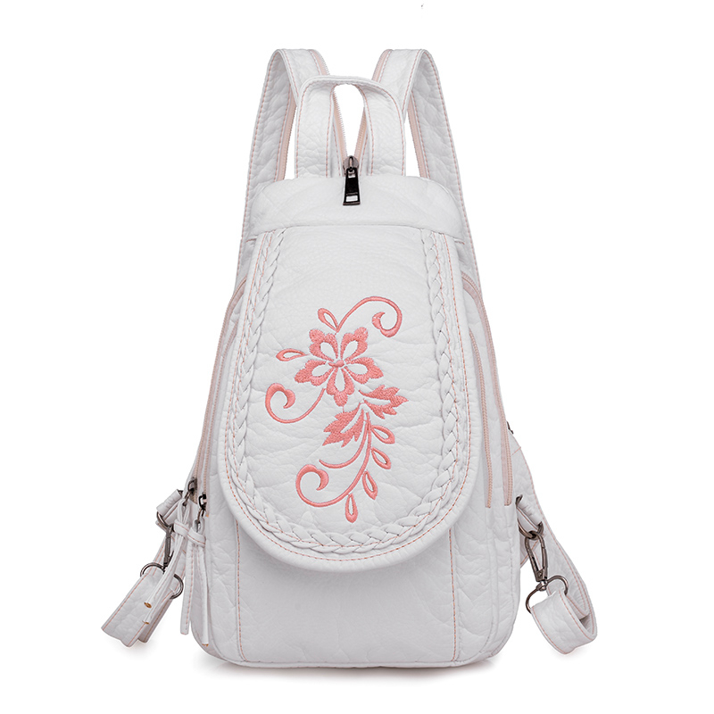 3-in-1 Women Flowers Leather Backpacks High Quality Travel Bagpack Ladies Sac A Dos Female Leather Backpack Embroidery Floral