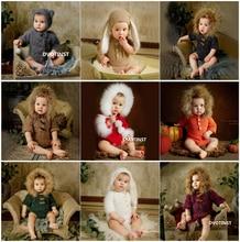 Dvotinst Neugeborenen Fotografie Requisiten für Baby Häkeln Stricken Weichen Outfits Kleidung Strampler Fotografia Zubehör Studio Foto Requisiten