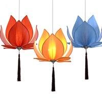 New Chinese Fabric Zen Chandelier Chandelier Classical Lotus Lamp Temple Hall Living Room Restaurant Restaurant Lighting