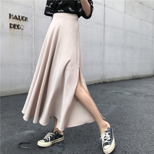 WWENN Women Skirt 2020 New Spring High Elastic Waist Black Irregular Hem Vent Loose Big Hem Half-body Skirt Women Fashion Tide