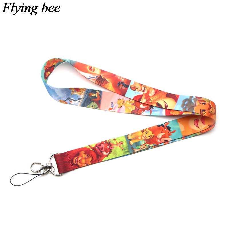 Flyingbee Creatieve Leeuw Sleutelhanger Lanyard Badge Lanyards Mobiele Telefoon Touw Sleutelhanger Sleutel Lanyard Nekkoord Accessoires X0125