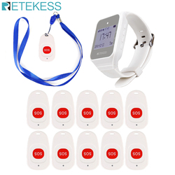 Retekess Wireless Calling System Watch Receiver+10 Call Bell Emergency Call Button for the Elderly