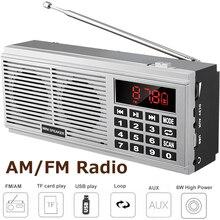 FM portatile AM Radio Ricevitore Digitale Speaker Supporto U Disk Carta di TF AUX Visualizzazione di Potenza Auricolare Uscita MP3 del Giocatore di Musica