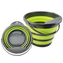 Balde dobrável portátil dobrável balde balde balde recipiente de água com alça resistente para mochila acampamento ao ar livre 4l/10l
