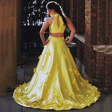 Uzn элегантные кружевными цветами и лямкой на шее атласное платье