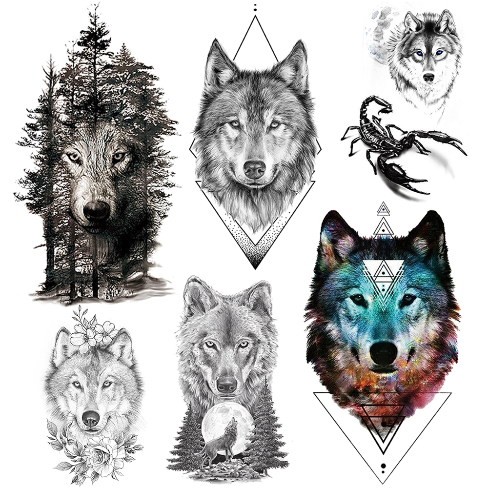 Large Flash Geometric Wolf Temporary Tattoos For Men Women Body Art Tatoos Adults Arm Back 3D Realistic Scorpion Tattoo Stickers
