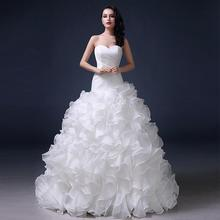Luxury 2020 Mermaid Wedding Dresses Sweetheart Strapless Ruffles Organza Court Train Tiered Lace-up Bridal Gown vestido de novia