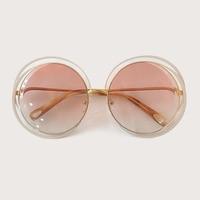 2019 Vintage Round Oversized Mirror Sunglasses Women With Designer Metal Frame Lady Sun Glasses UV 400