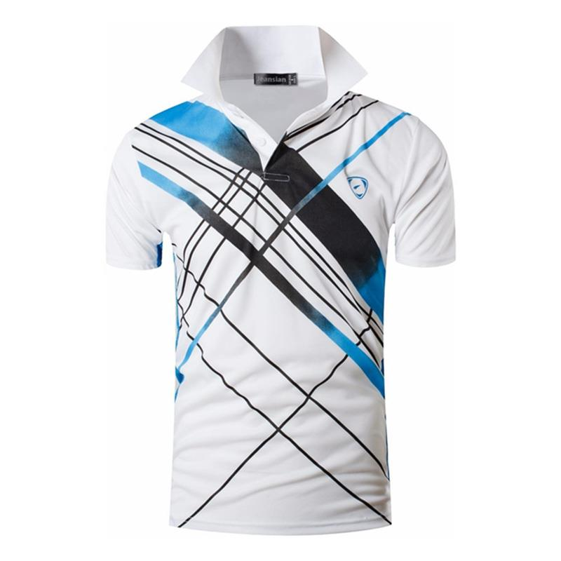 Jeansian Men's Sport Tee Polo Shirts POLOS Poloshirts Golf Tennis Badminton Dry Fit Short Sleeve LSL226 White