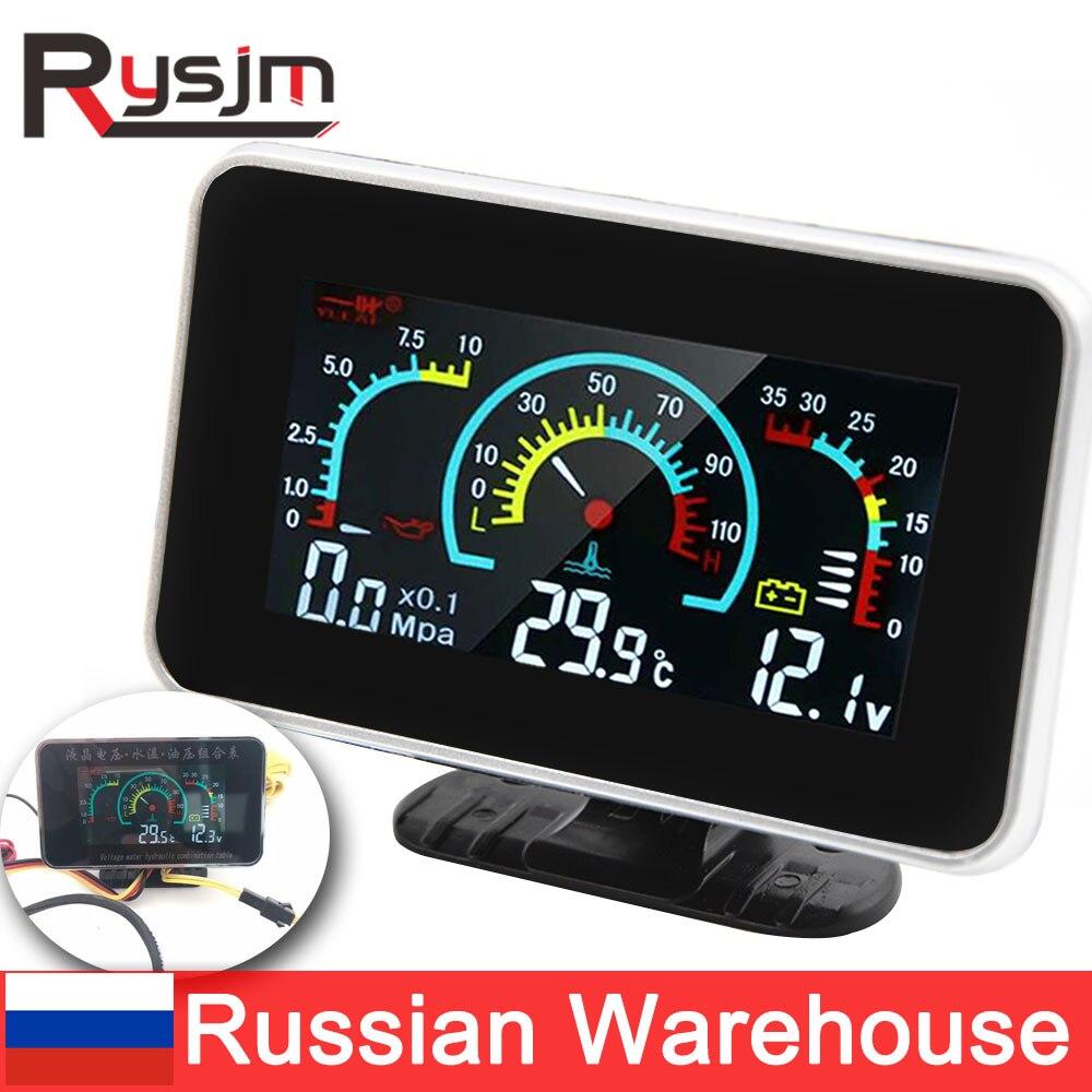 3 In 1 LCD Car Digital oil pressure gauge Voltmeter Water Temp meter 1/8 NPT Oil Pressure sensor + Water Temperature sensor 10mm