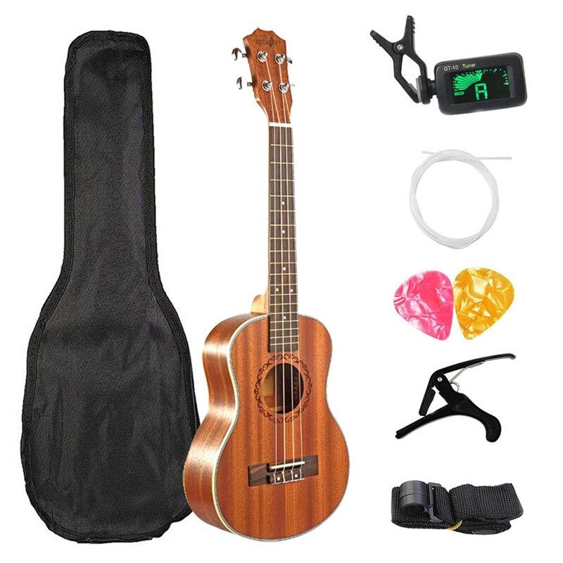 SEWS-Kits ukulélé de Concert 23 pouces Mini guitare hawaïenne 4 cordes en acajou avec sac pour Instruments de musique débutants