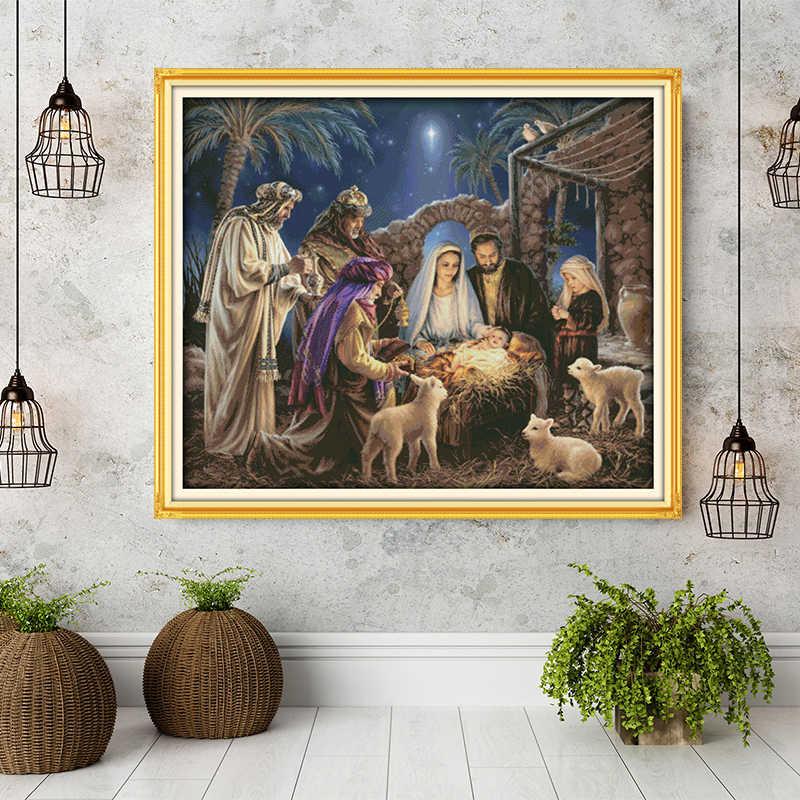 วันเกิดของเด็กพระเยซูรูปแบบ Aida ผ้าใบ CROSS Stitch ชุดเย็บปักถักร้อยชุด, ตกแต่งบ้านส่งอุปกรณ์เสริมเครื่องมือ