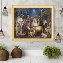 """Diseños de """"el nacimiento del niño Jesús"""", kits de punto de cruz de lienzo Aida, juego de bordado, decoración del hogar, envío de herramientas de accesorios"""