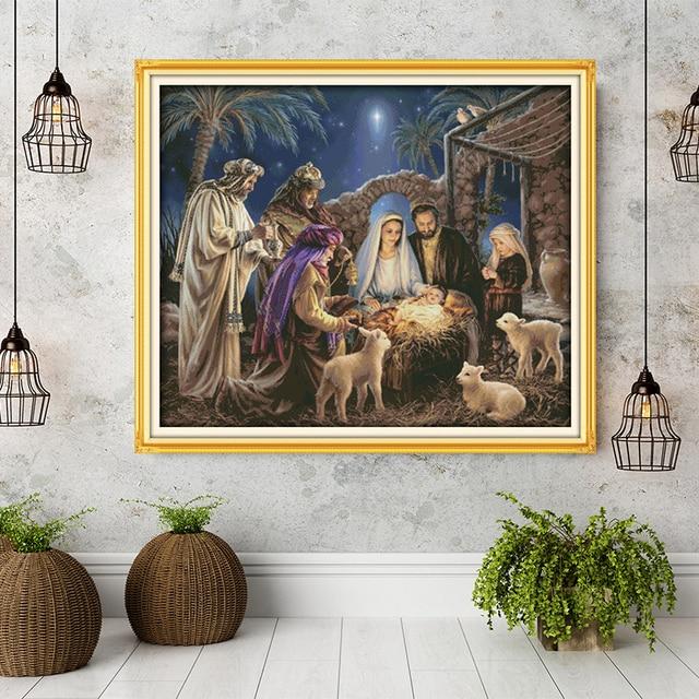 O nascimento do bebê jesus padrões, lona aida ponto cruz kits, bordado bordado bordado bordado bordado ficha, conjunto de bordado, casa de decoração enviar acessórios ferramentas