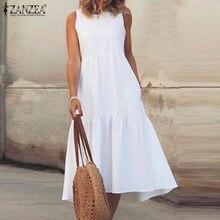 Summer O Neck Sleeveless Solid Ruffles Dress ZANZEA Women Sundress Fashion Sarafans Tanks Dresses Holiday Midi Vestidos Female
