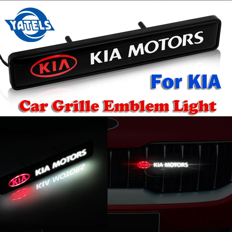 ABS Chrome Front Hood Grille Emblem Badge LED Decorative Lights For KIA Cerato Sportage R K2 K3 K4 K5 K6 Sorento Sportage Soul Optima