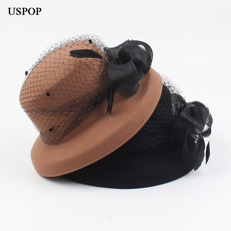 USPOP 2019 Women wool fedoras vintage mesh yarn female hats elegant feather decoration