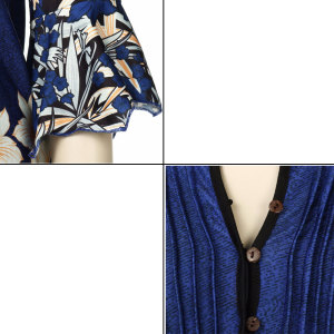 Image 5 - Women Blouse Three Quarter Sleeve Floral Print Causal Loose Tunic Women Blouse Shirts 2019 Fashion Plus Size Women Clothing 5XL
