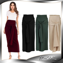 Lace-up High Waist Skirts Muslim Women Slim Bodycon Elastic Hip Long Pencil Skirt Solid Color Middle East Abaya Islamic Clothing