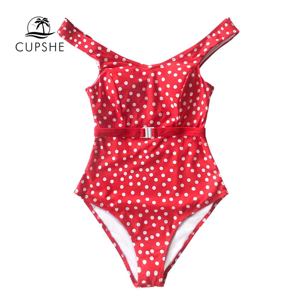 Image 5 - CUPSHE Red Polka Dot Belted One Piece Swimsuit Women Sexy Backless Cut Out Monokini 2020 Girls Beach Bathing Suit SwimwearBody Suits   -
