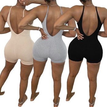 Summer Women Sexy Jumpsuit Streetwear Sleeveless Bodycon Solid Knitted Sport Jumpsuits Romper Playsuit B8 2018 summer female sexy bodycon jumpsuit solid high waist romper casual bandage romper streetwear